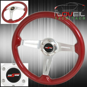 For Dodge Jeep Off Road Racing Rally 345mm Red Wood Grain Steering Wheel Godsnow