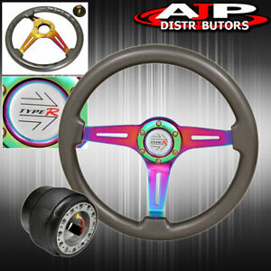 6 Bolt Steering Wheel Gunmetal Type R Horn Button Adapter For 90 93 Integra