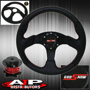 Universal Black Pvc Leather Steering Wheel Red Quick Release Godsnow