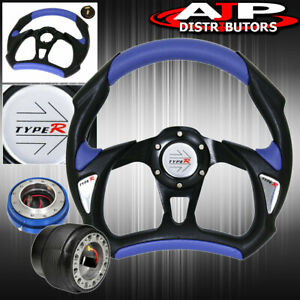 Type R Leather Steering Wheel Blue Thin Quick Release Adapter For 94 01 Integra