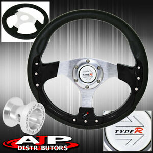 For 86 01 Integra Type R Black Fusion Style Steering Wheel Chrome Hub Adapter
