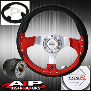 For 94 01 Integra 320mm 9 Bolt Red Fusion Style Steering Wheel Type R Button