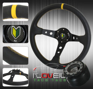 Black Leather Yellow Stitching Steering Wheel For 94 01 Integra 92 95 Civic
