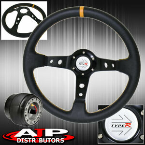 Deep Dish Black Steering Wheel Yellow Stitching Hub Type R For 90 93 Integra
