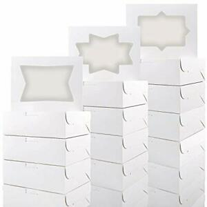 Moretoes 24pcs Cookie Boxes With Window White Bakery Boxes Loaf For Cookies