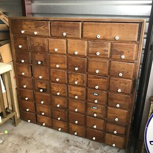 Vintage Apothecary Cabinet Wooden 38 Drawer Lee Grocery Salina 49 Tall 52 Wide
