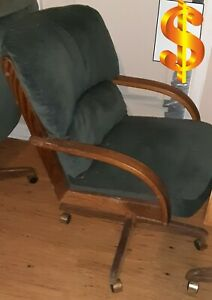 4 Green Cushion And Wood Office Chairs