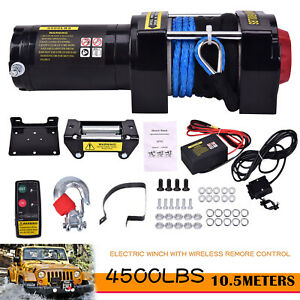 12v Dc Atv 4500lbs Electric Winch Synthetic Rope Wireless Handheld Remote