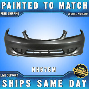 New painted Nh675m Magnesium Front Bumper Cover For 2004 2005 Honda Civic