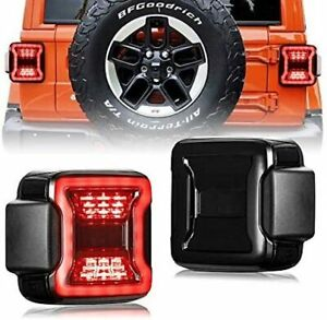 New Smoked Led Tail Lights For 2018 2020 Jeep Wrangler Jl Jlu Pair 2pcs