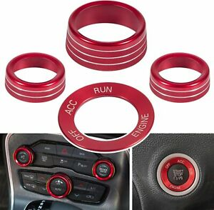 Red Air Conditioning Engine Start Button Knob Trim For Dodge Challenger Charger