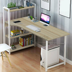 Computer Desk Pc Table Laptop Bookshelf Study Writing Drom Home Office W shelf