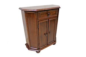 Vintage English Oak Entry Cabinet With Drawer