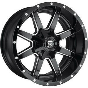 4 20x10 Black Milled Fuel Maverick 8x170 18 Rims Open Country A t Ii Tires