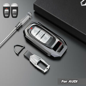 Zinc Alloy Car Remote Key Fob Case Cover Holder Chain For Audi A3 A4 A5 A6 A7 A8