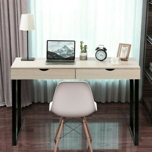 Computer Desk Pc Laptop Table Study Workstation Home Office W 2 Drawer Furniture