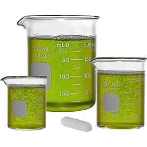 Corning Pyrex 1000 Low Form Glass Beaker Set With Magnetic Stir Bar