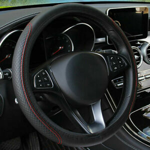 38cm Deluxe Black Red Pu Leather Car Steering Wheel Cover Trim Universal 15 Inch
