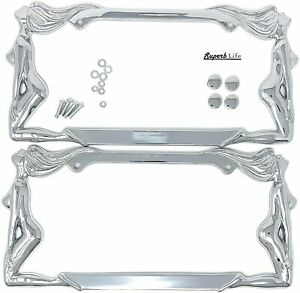 Superb Exotic Dancers Girl License Plate Frame Chromeclear With Cap