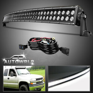 For Chevy Silverado Gmc Sierra 50 Curved Led Light Bar Roof Driving Wiring 52