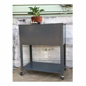 Vintage Rolling Filing Cabinet Metal Industrial Bar Cart Lift Top bottom Shelf
