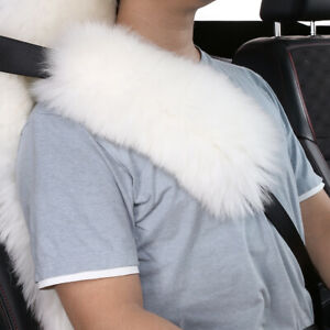 2pack Long Wool Sheepskin Seat Belt Covers Seatbelt Pads For Adults white