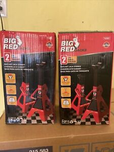 Big Red T42002 Torin Steel Jack Stands 2 Ton 4 000 Lb Capacity Red 1 Pair