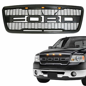 For 2004 2008 Ford F150 Raptor Style Conversion Front Hood Grille W Led Grill