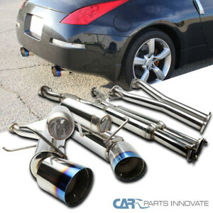 For 03 09 Nissan 350z S s Dual Titanium Burnt Tip Catback Exhaust Muffler System