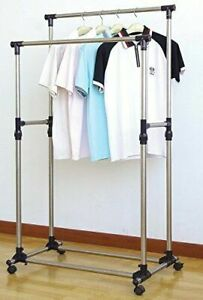 Ewei s Homewares Double Rail Adjustable Telescopic Rolling Garment Rack