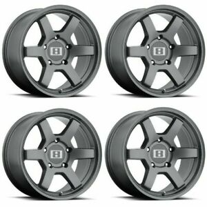 Set 4 17 Level 8 Mk6 17x8 Matte Gunmetal 6x4 5 Truck Wheels 0mm 6 Lug Rims