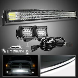 For 95 04 Toyota Tacoma 42inch Curved Led Light Bar Roof Driving W 4 Cube Pods