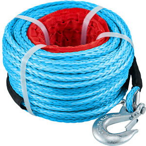 Vevor Synthetic Winch Rope Winch Line Cable 3 8 100 18740lbs For Tow Blue