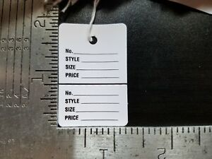 1000 White Price Tags W string Perforated 2 Part Garment Merchandise Strung Sm
