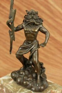 Signed Poseidon God Of Sea Bronze Bookend Book End Sculpture Marble Base Statue