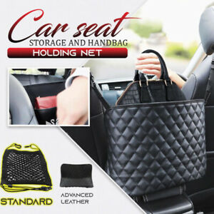 Advanced Car Net Pocket Handbag Holder Pu Leather Between Car Seat Storage Black