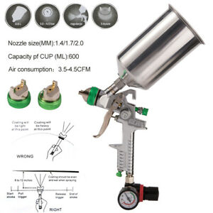 1 7 2 0 2 5mm Hvlp Paint Spray Gun Gravity Fed 1l Aluminium Cup