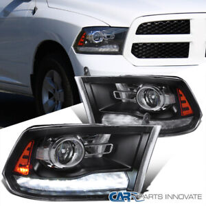 For 09 19 Ram 1500 2500 Matte Blk Switchback Led Sequential Projector Headlights