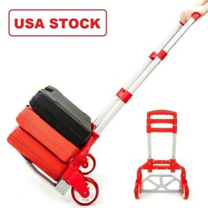 Red Folding Hand Truck Aluminum Portable Hand Cart 165lbs Home Auto Luggage Us