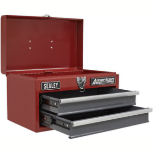 Sealey Toolbox With Ball Bearing Slides 2 Drawers Small Compact Storage Red