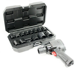 Stubby 1 2 Dr Air Pneumatic Impact Wrench 400 Ft Lbs W 14pc Shallow Sockets