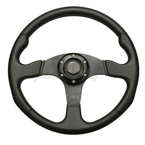 350mm 14 Deep Dish 6 Bolt Racing Steering Wheel Pu Leather Horn Button Us Stock