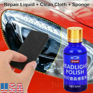 Car Headlight Lens Restoration Fluid Repair Kit Plastic Light Polish Cleaner Usa