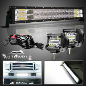 1999 07 Ford F250 F350 Lower Bumper 22 Led Light Bar Combo Offroad Pods Lamp 24