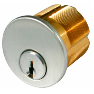 1 1 8 In Satin Chrome Mortise Cylinder With Schlage Keyway