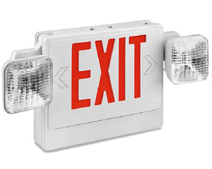 New Led Exit Sign With Emergency Lights Red Lettering H 6509