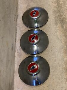 Lot Of 3 Vintage 1950 S Chevrolet Dog Dish Hubcaps