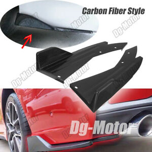 Set Of Universal Rear Bumper Lip Splitter Spoiler Diffuser Carbon Style Body Kit