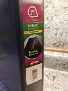 Avery 1 1 2 Durable 3 Ring Binder Black With Clear View Cover