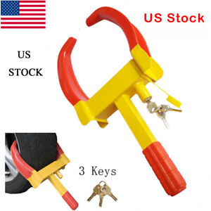 Wheel Tire Lock Clamp Anti Theft Safe Parking Boot For Car Truck Suv Boat Atv Rv